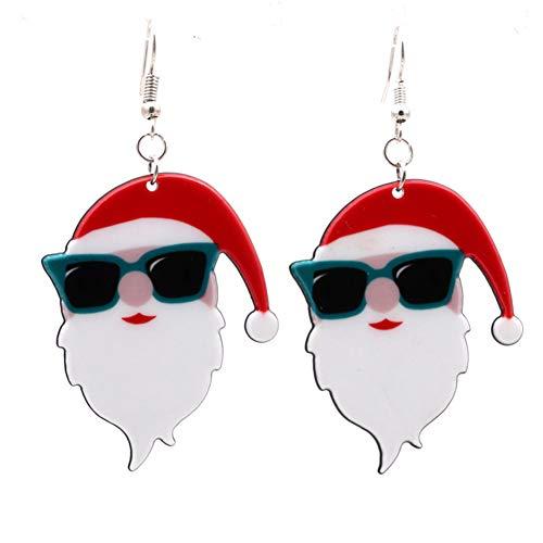 wsloftyGYd Cute Santa Claus Pendant Ear Drop Earrings Women Christmas Jewelry Decor Gift New Santa Earring Earrings Wholesale Acrylic Christmas Earrings Snowman Bell Earrings Ear 5