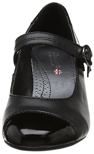 Padders Jean Mujeres Mary Jane Style Court Zapatos Black Combi