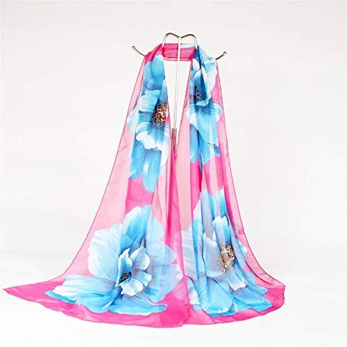 Snow yarn rural printed silk scarf long sunscreen beach shawl scarf C 160x50cm