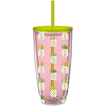 22 Oz. Pineapple Double Wall Insulated Tumbler - Fun Pineapple Printed Tumbler with Lid and Straw