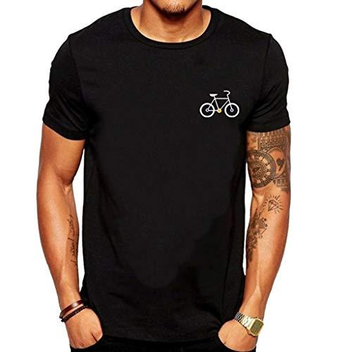Bicycle Print Round Neck Short Sve Comfort T-Shirt Casual Slim Fit Top tees Blouse Black ()