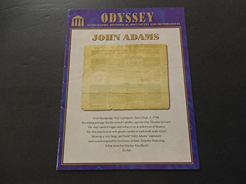 Odyssey Autographs, Historical Documents And Memorabilia Price Catalog