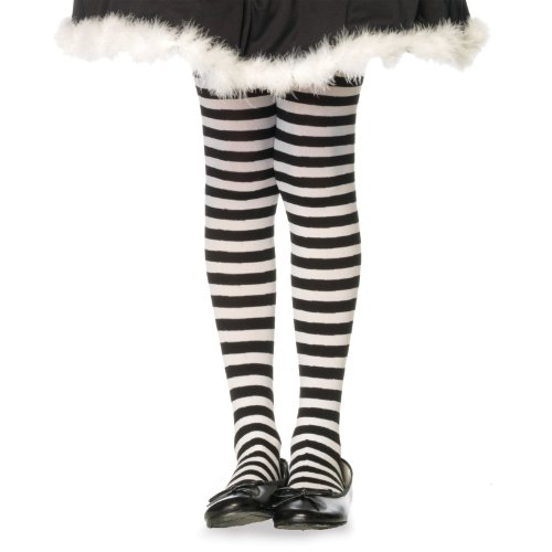 Children's Striped Tights Hosiery - Large (Kids Black And White Striped Tights)