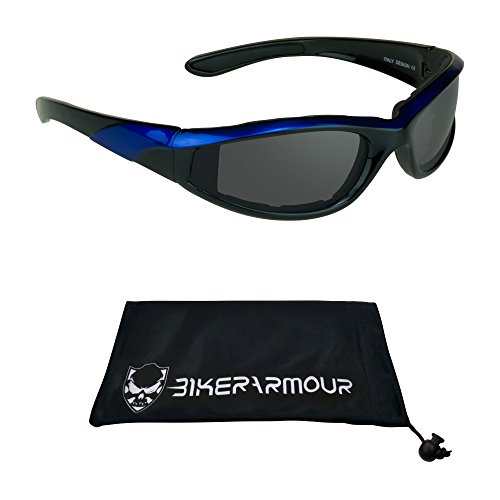 Foam Padded Motorcycle Riding Glasses with Blue Frames and Polycarbonate Safety Smoke Lenses. Free Microfiber Cleaning Case - Riding Best Glasses