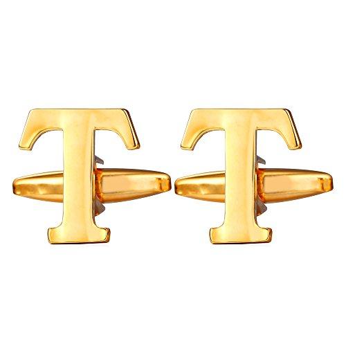 U7 Men's Shirt Cuff Links 1 Pair Studs 18K Gold Plated Initial Cufflinks (Letter T)