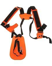 Arnés para máquina desbrozadora con correa de protección doble de Pixnor, naranja