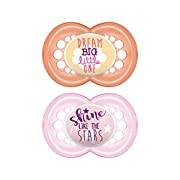 MAM Attitude 2 Piece Orthodontic Pacifier, Girls, 6+ Months