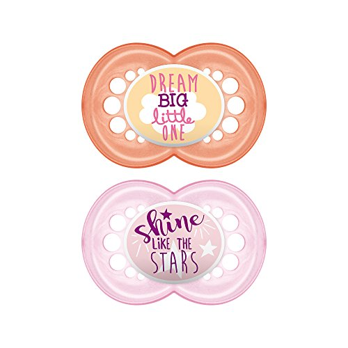 MAM Pacifiers, Baby Pacifier 6+ Months, Best Pacifier for Breastfed Babies, Attitude Design Collection, Girl, 2-Count