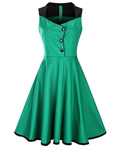 A Up Button Line Swing Green Style Jaycargogo Dress Vintage Midi Hepburn Women's Sleeveless YqwTS8X