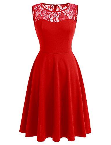 Dressystar Femmes Élégantes Robes Vintage Décolleté En Dentelle Robe De Cocktail Rouge