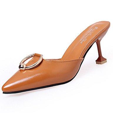 LvYuan Mujer Sandalias Confort Cuero Patentado Verano Casual Vestido Paseo Confort Tacón Stiletto Negro Plata Marrón Claro 2'5 - 4'5 cms Silver