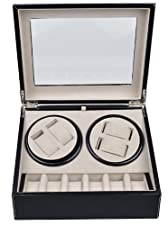 TMS Leather Automatic Rotation 4+6 Watch Winder Storage Case Display Box Black Brown (Black)