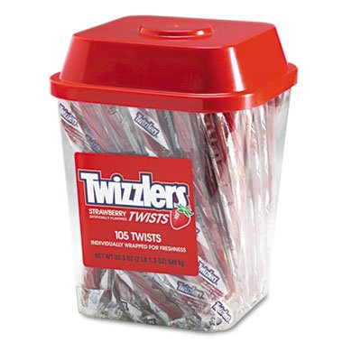 Strawberry Twizzlers Licorice, Individually Wrapped, 2lb Tub, Sold as 1 Each]()