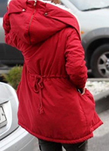 Down Women Hooded Zip Solid Red AngelSpace Parka Mid up Outerwear Length Thick fqnpRA4