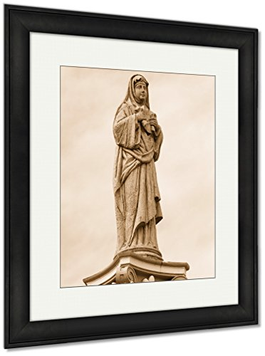 Ashley Framed Prints Statue In The Courtyard Of The Old Catholic Church Of The Basilica Del Santo, Wall Art Home Decoration, Sepia, 35x30 (frame size), Black Frame, AG5975437 by Ashley Framed Prints