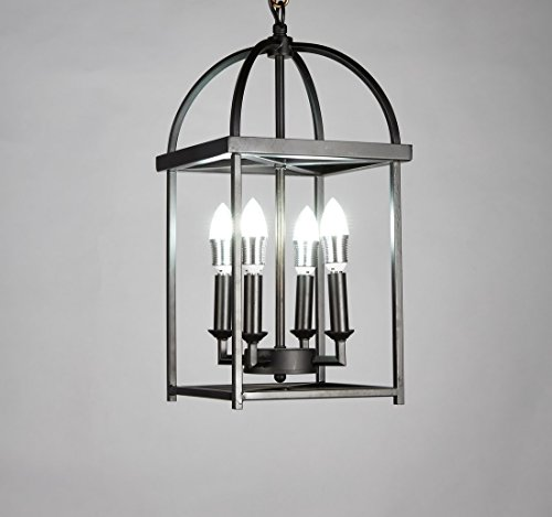 Antique Lighting Hanging - New Legend Lighting Antique Black finish 4-light Hanging Lantern Iron Frame Pedant Chandelier