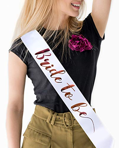 Bride to Be Sash Bachelorette Party Decoration Kit - Rose Gold on White Satin Sashes Rose Gold Bride Gift - Party Favors for Bridal Showers, Engagement Parties and Wedding Supplies (Sash)
