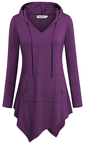 Tencole V Neck Tunic Top, Leisure Go-to Work Shirts Soft Comfy Hooded Sweatshirt,Purple,X-Large