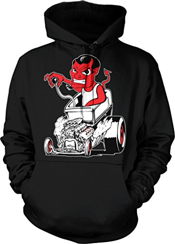 Hot Rod Devil, Street Rod Hooded Sweatshirt, NOFO Clothing Co. XXL Black