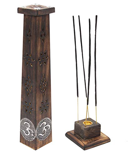 DharmaObjects Wooden Artisan Decor Table Top Incense Stick Holder Burner Tower Stand (Om)