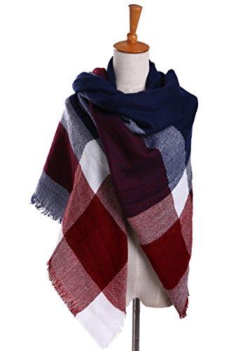 Bess Bridal Women's Plaid Blanket Winter Scarf Warm Cozy Tartan Wrap Oversized Shawl Cape ()