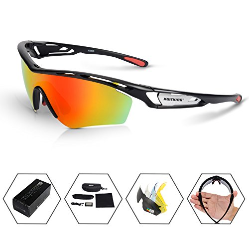 KastKing Coso Sport Sunglasses, 4 Interchangeable Colors with Polarized Lenses, Ultimate Safety Impact Resistant, UV Eye Protection, Unbreakable TR90 - Impact Sunglasses Resistant