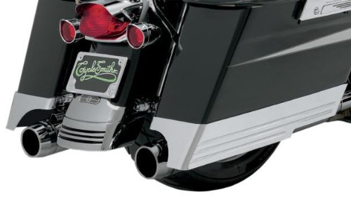 Aluminum Oval Mufflers (Cyclesmiths Billet Saddlebag Extensions with Cutouts for Dual Exhaust - Chrome CS200)