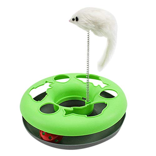 (HUN Pet Toy Color Matching Round Cat Play Board - Spring Mouse Cat Interactive Toy Turntable (Green, Free))