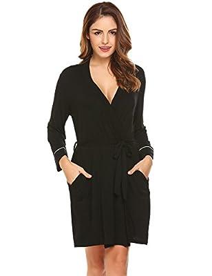 Acecor Women 3/4 Sleeve V-Neck Kimono Short Spa Bathrobe Robe Sleepwear Pajama S-XXL