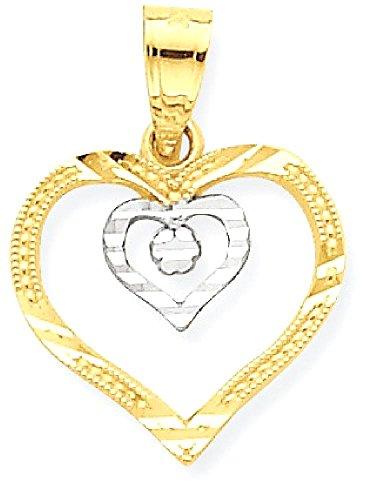 10k Gold Designer Heart Pendant - 4