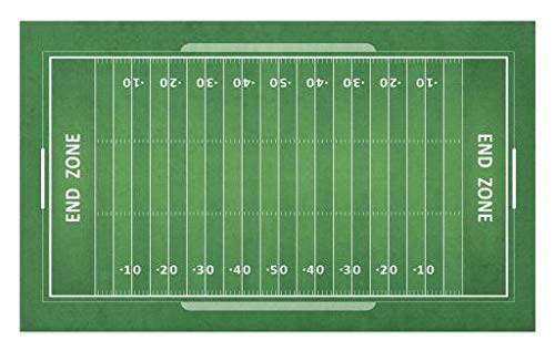 Lunarable Football Doormat, Field of The Game Strategy Tactics End Zone Touchdown Sports Competition Theme, Decorative Polyester Floor Mat with Non-Skid Backing, 30