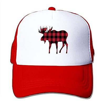 Cool Buffalo Plaid Moose Lumberjack Red Black Mesh Hats