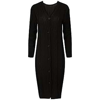 LCL- Pulsante delle signore delle donne a maniche lunghe fino Chunky Cavo lavorato a maglia nonno maxi cardigan S-XL( TM-Love Celeb Look) (S/M -(38/42), Nero)