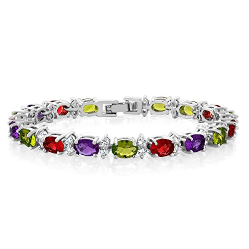 Gem Stone King 20.00 Ct Oval & Round Multi-Color Cubic Zirconia CZ Tennis Bracelet 7 inch with Fold Over Clasp