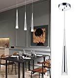 Modern Kitchen Island Pendant Lighting, Adjustable LED Cone Pendant Light with Silver Plating Nickel Finish Acrylic Shade for Dining Rooms, Living Room, 7W, Warm White 3000K (Upgraded Version 3.0)