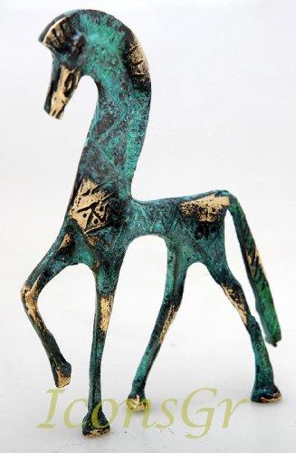 Ancient Greek Bronze Museum Statue Replica of Horse From Geometric Era (123)