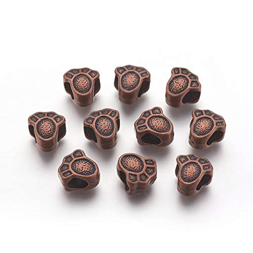 MegaPet 20pcs Red Copper Pet Dog Puppy Palm Paw Print European Beads Big Large Hole Beads Loose Spacer Beads for European Charm Bracelet DIY Jewelry Findings, Cadmium Free, Nickel Free & Lead Free ()