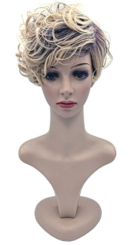 Blanche Golden Girls Costume (Blanche Girls Short Curly Blonde Mix Hair Side Curls Bangs Wavy Hair Gold Curls Wig)