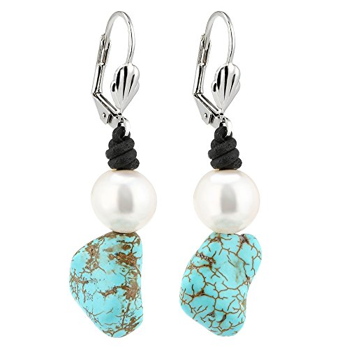 Girl Leather Earring With Freshwater Cultured Pearl Natural Turquoise Dangle Earrings By Shengsheng (Cultured Pearl Turquoise Ring)