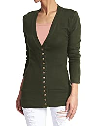 TheMogan Classic Snap Button Front V-Neck Long Sleeve Knit Cardigan