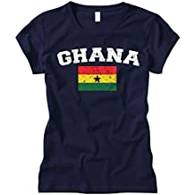 Cybertela Women's Faded Distressed Ghana Flag Fitted T-Shirt