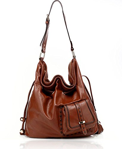 Chocolate Leather Zip Hobo Bag - 9