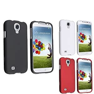 Quaroth Everydaysource Compatible with Samsung Galaxy S4 S IV i9500 Black + White + Red 3-in-1 Snap-on Rubber Hard Case...