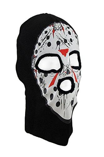 Black/White Seral Killer Hockey Mask Knit Ski Hat Cap