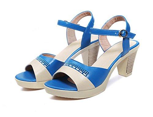 Frau Sommer Sandalen mit dicken, runden in Sandalen mit weichen Boden rutschfest blue