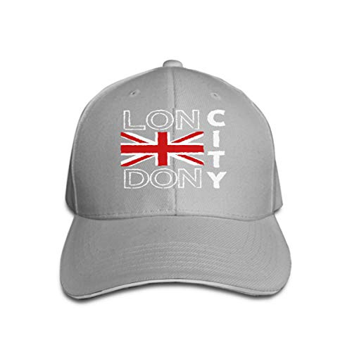 Unisex Trucker Hat Cap Cotton Adjustable Baseball Dad Hat London City Design Typography British Flag Fashion Printing sp Gray -