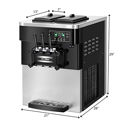COSTWAY Ice Cream Machine Commercial Automatic 2200W 20-28L/5.3-7.4Gallon Per Hour Soft & Hard Serve Ice Cream Maker with LCD Display Screen, Auto Shut-Off Timer, 3 Flavors by COSTWAY (Image #6)