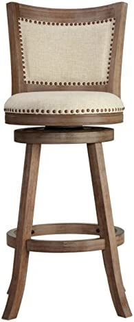 Cortesi Home Padded Back Marko Bar Stool Beige Fabric Swivel Seat