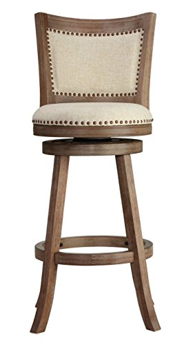 Bar Swivel Stool Country (Cortesi Home CH-BS624950 Marko with Padded Back Beige Fabric Swivel, 30