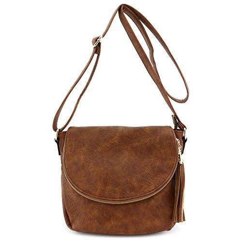 Tassel Accent Crossbody Bag with Flap Top (Cross Body Flap Handbag)